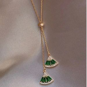 14Kt Gold .925 Sterling Silver Emerald Necklace
